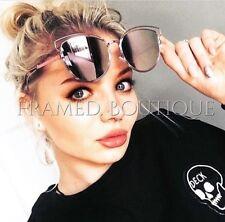 Rose or rose lunettes de soleil cateye réfléchissant aviateur miroir celeb designer .17