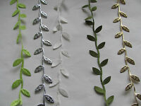 BERTIE'S BOWS LEAF TRIM RIBBON - OLIVE / GREEN / WHITE / GOLD / SILVER