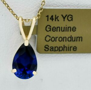 GENUINE 2.17 Cts BLUE SAPPHIRE PENDANT 14K GOLD * MADE IN USA * Free Appraisal *