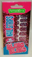 BLING BLING Nail Strips Use On Bare Nails PEPPERMINT Very Sparkly 12ct NIP