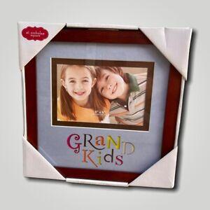 Grandkids Photo Frame 4x6 Wood, St Nicholas Square, Blue Matte, Great Condition!