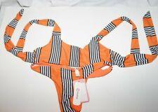 PatPat medium orange black and white stripe 2 piece bikini