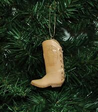 Leather Cowboy Boot Western Christmas Ornament