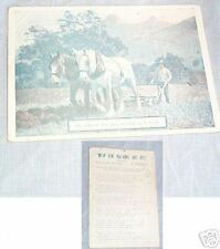 CABINET MUSIC CARD - HORSE and PLOUGH