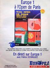 PUBLICITÉ RADIO EUROPE 1 - A L'OPEN DE PARIS BERCY 1994 AVEC PATRICE DOMINGUEZ