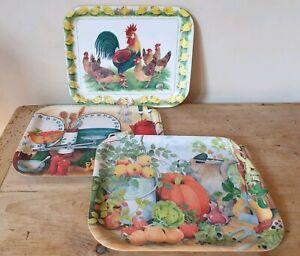 Small Melamine Serving Trays x 3 Autumn Pumpkin Chicken Farmhouse Style Watchet