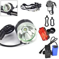 8000Lm CREE XML T6 LED Bicycle Bike Head Light Headlamp Rechargeable Flash SET