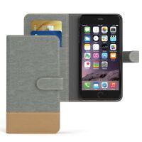 Tasche f. Apple iPhone 6 / 6S Plus Jeans Cover Handy Schutz Hülle Case Hellgrau