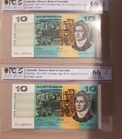 1991 Australia PAIR $10 Banknote Fraser/Cole Gem UNC 66 OPQ PCGS MPL 369546-9547