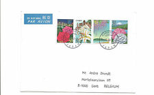 2004 Japan airmail cover to Belgium  strip 4 flowers