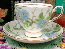 TUSCAN BLUE & VIOLET FLOWERS TEA CUP AND SAUCER TEACUP