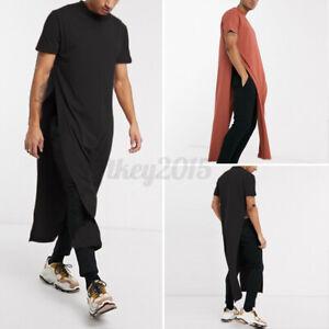 US STOCK Mens Short Sleeve Longline T Shirt Loose Causal Kaftan Dress Robe Tunic