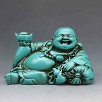 China antiques Hand-carved Turquoise Seated Maitreya Buddha ingot gourd Statue