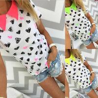 Fashion Women Summer Short Sleeve Blouse Casual Loose Tops T-Shirt Blouse Tops