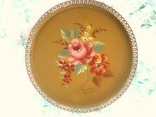 Hand Painted Paris Chic Shabby Floral Antique Tole Tray - Signed Marian Walker