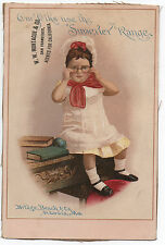 Large 1890s Trade Card of Little Girl wearing Glasses for Superior Ranges