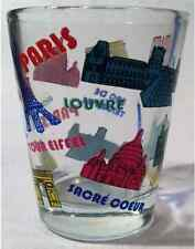 PARIS FRANCE COLOR LANDMARKS COLLAGE SHOT GLASS SHOTGLASS
