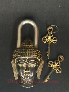 Collection Ancient China Tibet Copper Buddha Head Lock Furniture Decoration