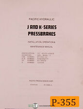 Pacific J and K Series, Pres Brakes Operations Install & Maintenance Manual 1988