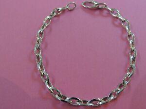 Bracelet  femme maille jaseron fantaisie or blanc 18 carats