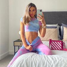Women Activewear Suit Tops Shirt + Sports Leggings Yoga Pants Pony Rainbow Cloud