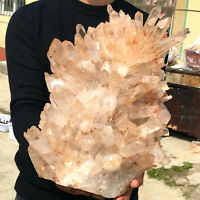 22.57LB Clear Natural Beautiful White QUARTZ Crystal Cluster SpecimenKF8