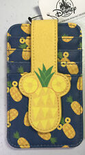 Disney Store Mickey Mouse Pineapple Cardholder 4 Card Slots Snap Closure