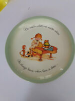 """Vintage Holly Hobbie Plate """"It's always home when love is there"""" 10 1/2"""" 1973"""