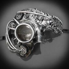 Steampunk Phantom Theater Masquerade Mask for Men - Metallic Silver (M39146)