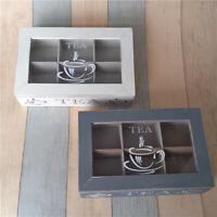 Wooden Plate Retro Tea Storage Box Case Chest Organizer 6 Compartment Top Log !