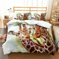 Light Green Giraffe Duvet Doona Quilt Cover Set Single/Queen/Double/King Bed