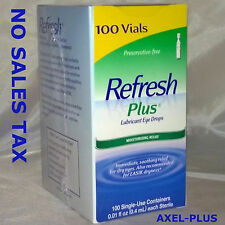 Refresh Plus Lubricant Eye Drops,  Moisturizing Relief, 100 Single Vials