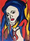Expressionniste portrait femme bleue gouache Jungo 2ème moitié XXème