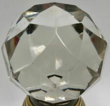 2 Antique Crystal Glass Victorian Door Knobs Faceted Diamond Cut With Spindle