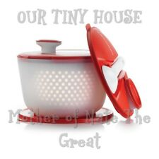 Tupperware Salad Spinner W/ Jumbo Salad On the Go Seal Tongs Snack Cup RED/WHITE