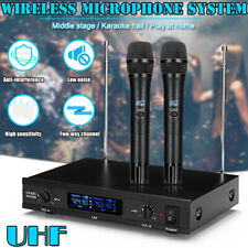 Professional Wireless Microphone System Uhf Handheld 2x Mic Cordless Receiver Us