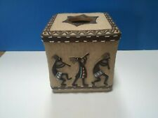 Avanti Kokopelli Tissue Box Cover Hand Painted Gold Resin Southwestern Style