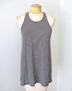 Athleta black white stripe swing tank jersey knit top racerback soft modal MT
