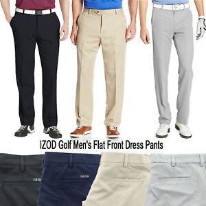IZOD Men's Golf Performance Flat Front Classic Stretch Dress Pants