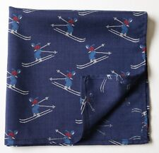Wool & Silk Pocket square blue, skiing themed 36cm square. Hand made
