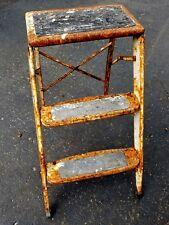 Vtg LADDERETTE Rustic 3 Step Ladder Stool Primitive Folding Metal Paint Covered
