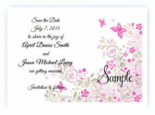 100 Personalized Custom Pink Butterfly Bridal Wedding Save The Date Cards