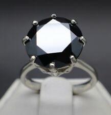 6.20cts 12.23mm Natural Black Diamond Ring, Certified, AAA Grade & Value
