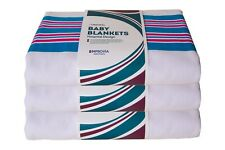 3 New Hospital Receiving Baby Blankets Warm Infant Swaddling 30/40 100% Cotton