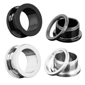 Pair Stainless Steel Polish Flesh Tunnel Double Flared Screw Ear Plug Expander