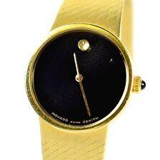 """Movado Swiss Zenith 14k Yellow Gold Mesh 24.5mm Black Dial Watch 6.5"""" 40 Grams"""