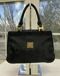 MCM Womens Black Canvas and Leather Handbag
