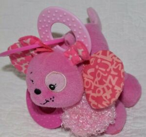 Infantino Pink Plush Baby Toy Lovey Rattle Teether Carseat Clip Dog? Cat? Animal