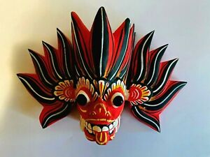 Mask Wooden Wall Art Hand Carved  Decor Devil Sri Lankan Sculpture tiki home