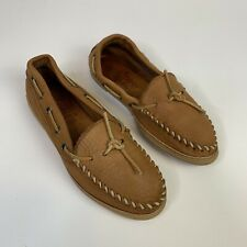 Minnetonka Moccasin Loafers 7.5 Camel Tan Brown Soft Leather Womens Slip On